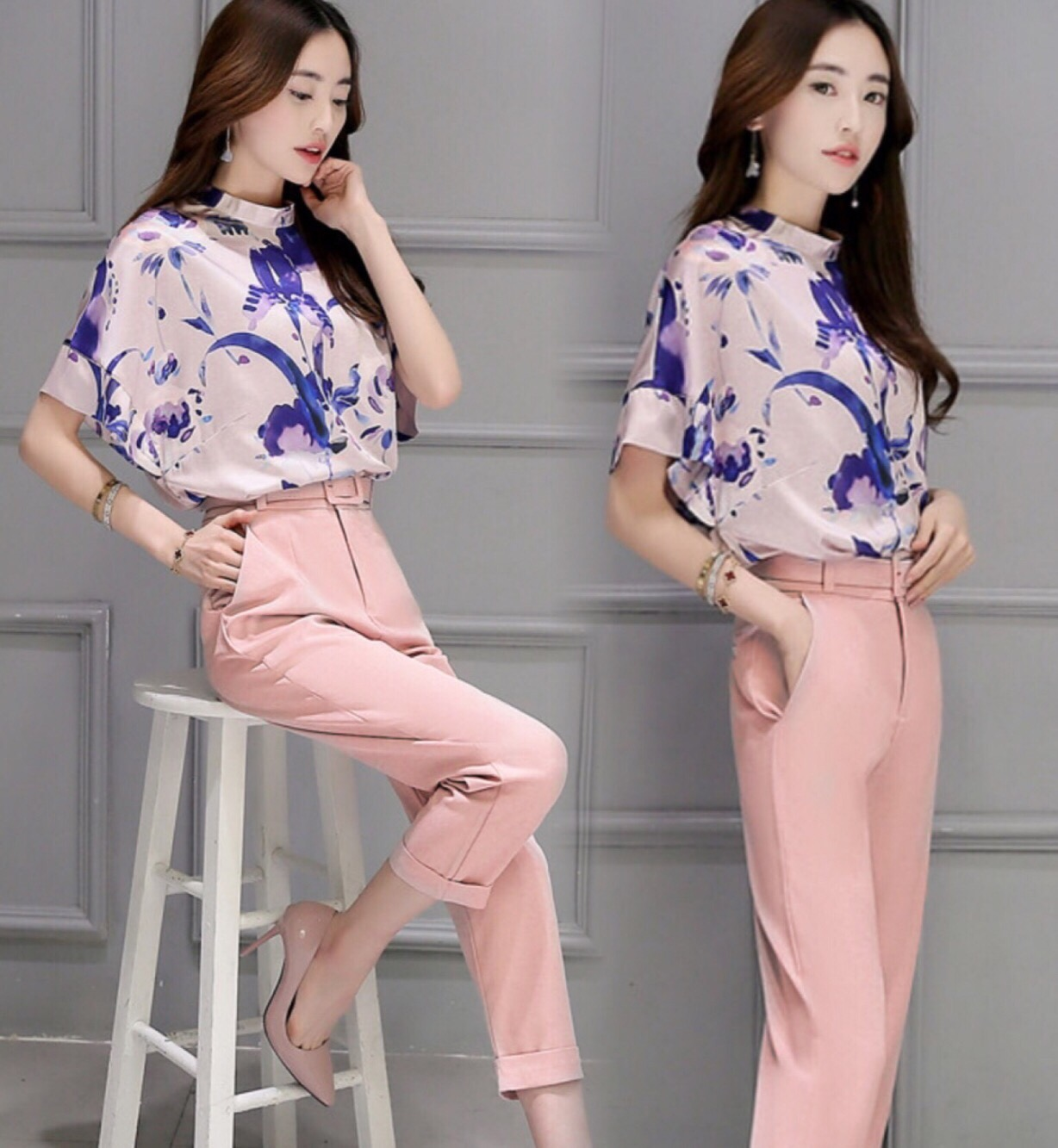 Daisy plump wearing shirt sleeves butterfly set