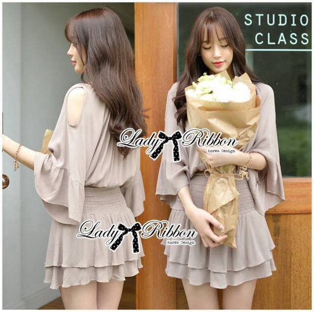 DR-LR-294 Lady Jane Classic Glam Smock Chiffon Dress in Beige
