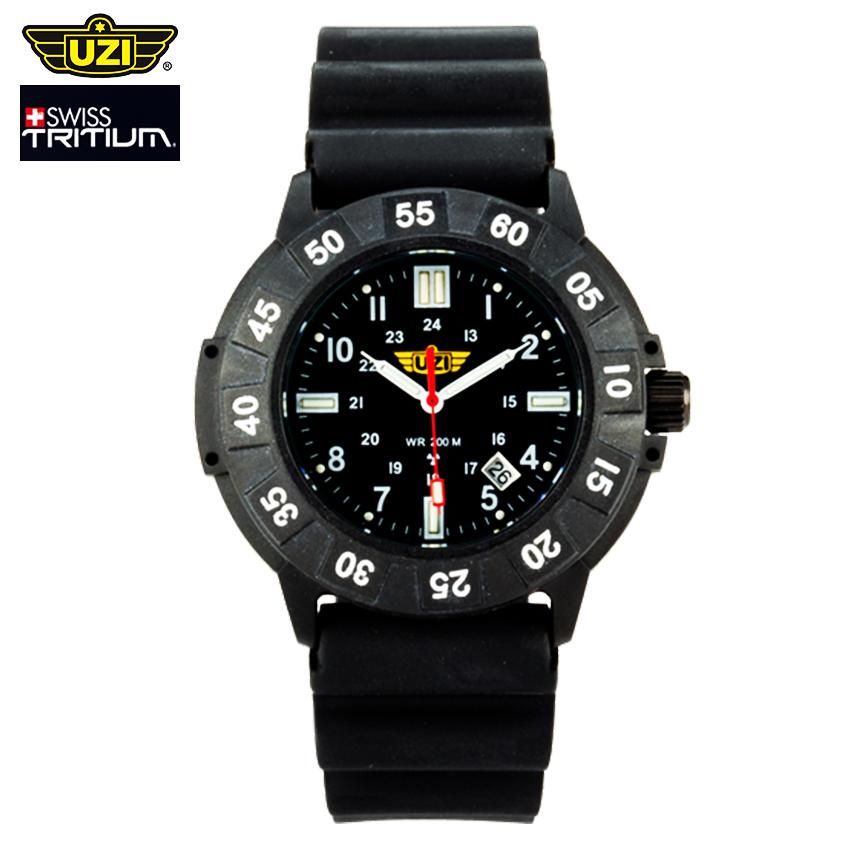 นาฬิกาทหาร UZI Protector Swiss Tritium Black หน้าปัดสีดำ นาฬิกาภาคสนาม สายข้อมือยาง