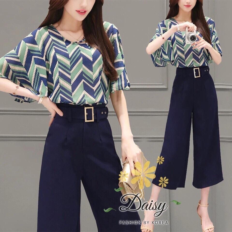 Daisy Korean fine print opaque zigzag stripe set