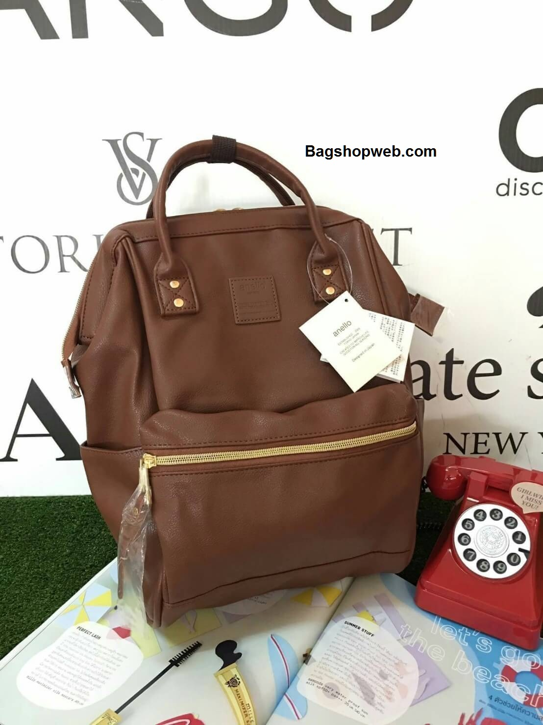 กระเป๋าเป้ Anello polyurethane D.Brown Mini