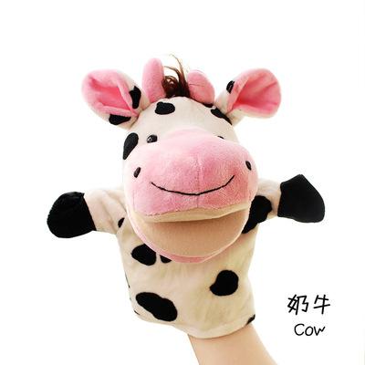 ตุ๊กตามือวัว หัวใหญ่ ขนนุ่มนิ่ม สวมขยับปากได้