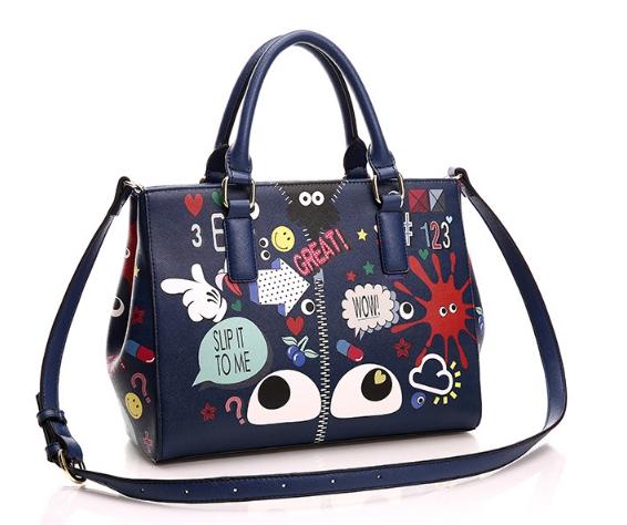 กระเป๋าถือหรือสะพาย แฟชั่น แบรนด์ Duolaimi วัสดุหนังpu อย่างดี พิมพ์ลาย สไตล์ KATE สวยอยู่ทรง ใส่เอกสารได้