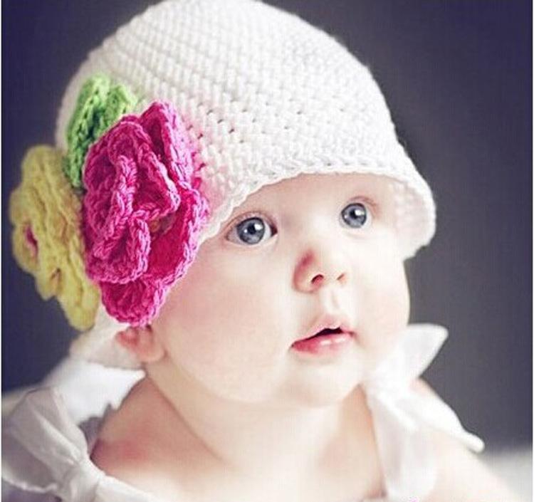 หมวกไหมพรมหนูน้อย ถักโครเชต์ทั้งใบ ถักดอกไม้สีสวย น่ารัก เหมาะสำหรับเด็กผู้หญิง