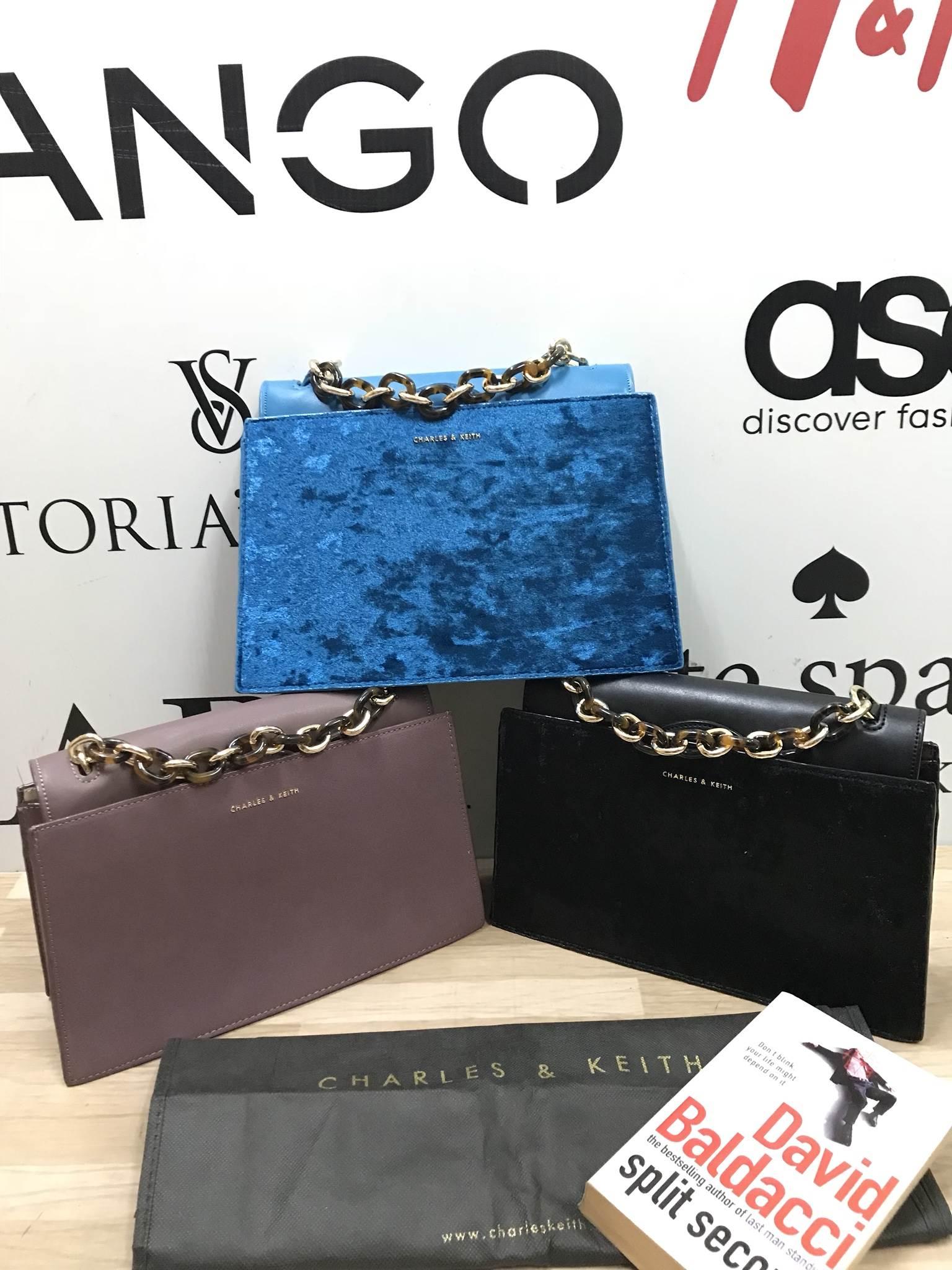 Charles & Keith Chain Top Handle Handbag