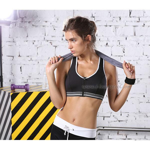 สปอร์ตบรา ชุดกีฬาผู้หญิง รุ่นซิปหน้า รองรับแรงกระแทกระดับ 4 ใส่สบาย - สีดำ