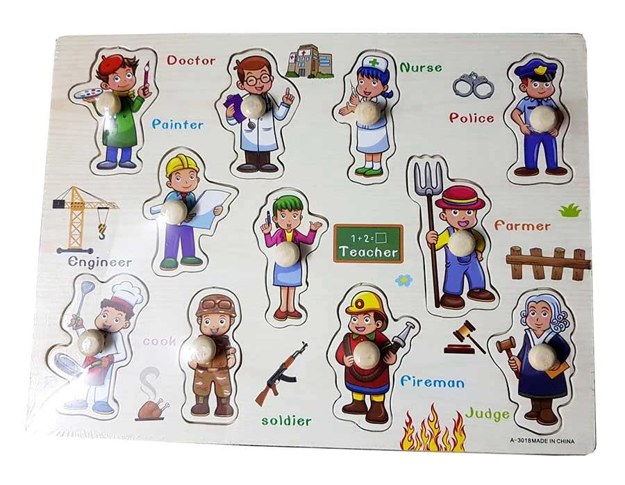 ของเล่นไม้ถาดจับคู่อาชีพ พร้อมคำศัพท์ภาษาอังกฤษ เสริมพัฒนาการ