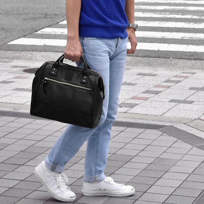 กระเป๋าเป้ ANELLO 2 WAY PU LEATHER BOSTON BAG (Regular)-----Pure Black