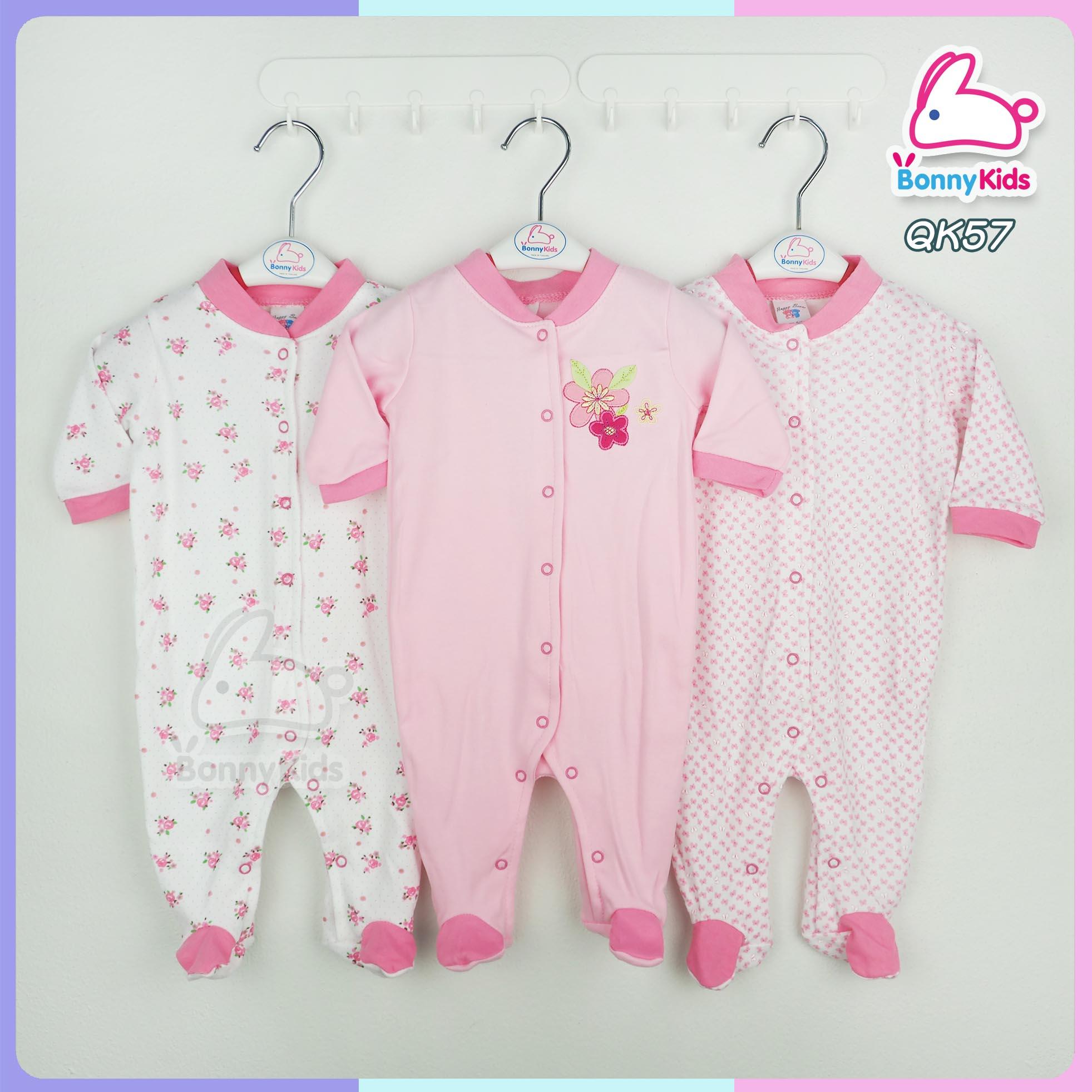 ชุดหมี sleep suit แพ็ค 3 ชุด ไซส์ 6-9 เดือน
