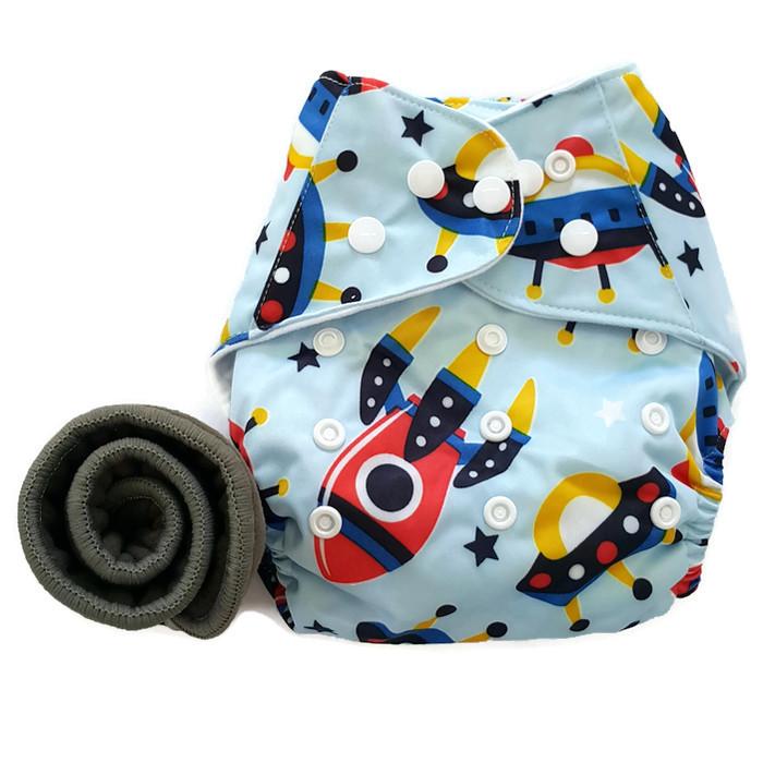 กางเกงผ้าอ้อม PUL +แผ่นซับชาโคล Rocket Light Blue
