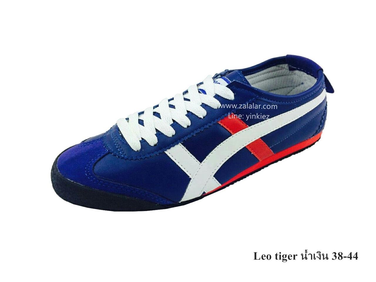 [พร้อมส่ง] รองเท้าผ้าใบแฟชั่น รุ่น Leo tiger สีน้ำเงิน แบบหนัง