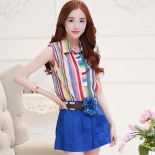 ชุดเซ็ท 2 ชิ้น เสื้อ กางเกงน่ารักๆ สีน้ำเงิน สดใส เสื้อลายตรงหลากสี คู่กับกางเกงขาสั้น