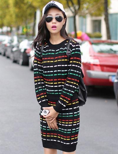 ชุดเดรสแฟชั่นสไตล์เกาหลีสวยๆ ชุดเซ็ดแยกชิ้นสีดำ เสื้อแขนยาว , กระโปรงสั้นเข้ารูป ผ้าไหมพรม เนื้อผ้ายืดได้