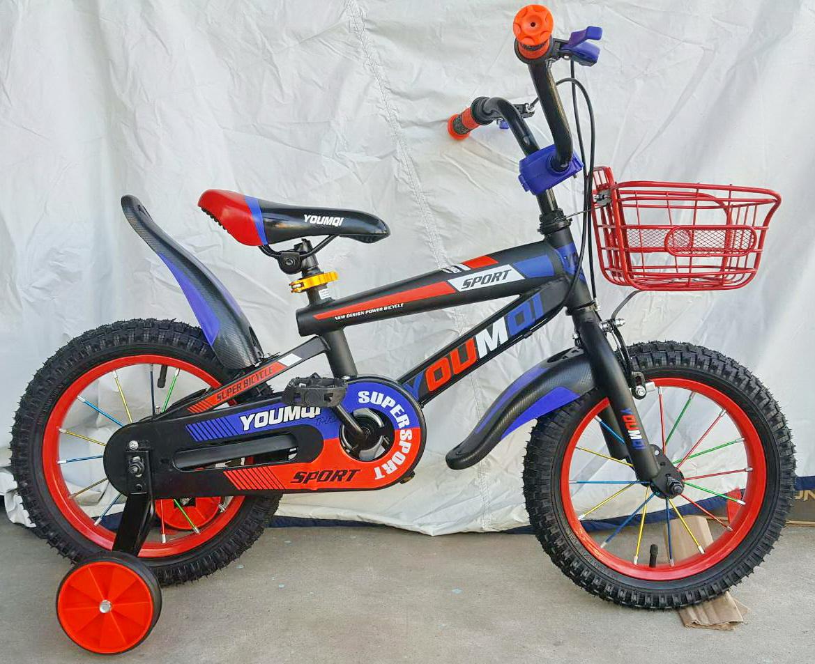จักรยานสำหรับเด็ก Youmoi เฟรมเหล็ก สีดำแดงน้ำเงิน ล้อ 14 นิ้ว มีล้อพ่วงข้างช่วยการทรงตัว