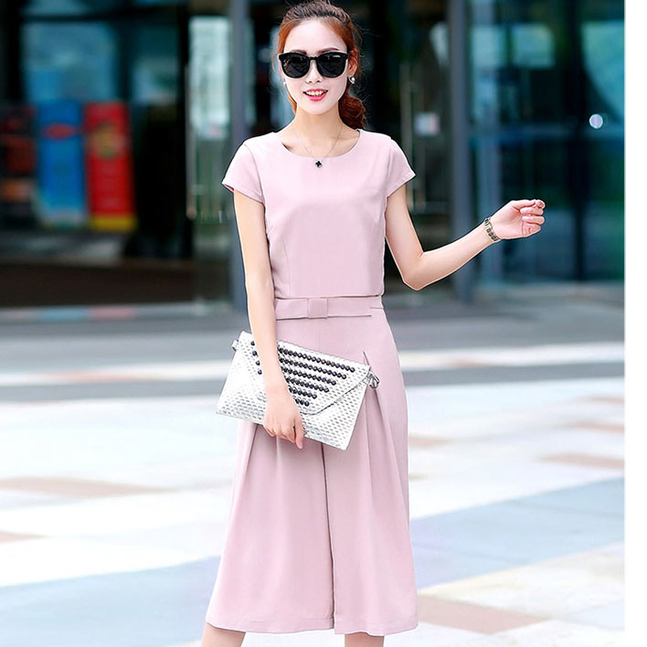 ชุดเซ็ท 2 ชิ้นเข้าชุดสีชมพูสวยๆ เสื้อแขนสั้น+กางเกงขากว้าง ราคาถูก