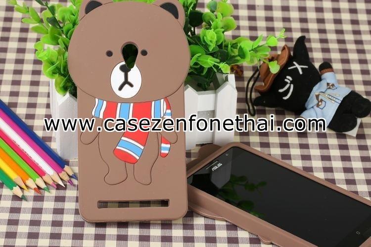 เคส asus zenfone 5 ซิลิโคน การ์ตูน 3D หมีบราวน์ผูกผ้าพันคอ