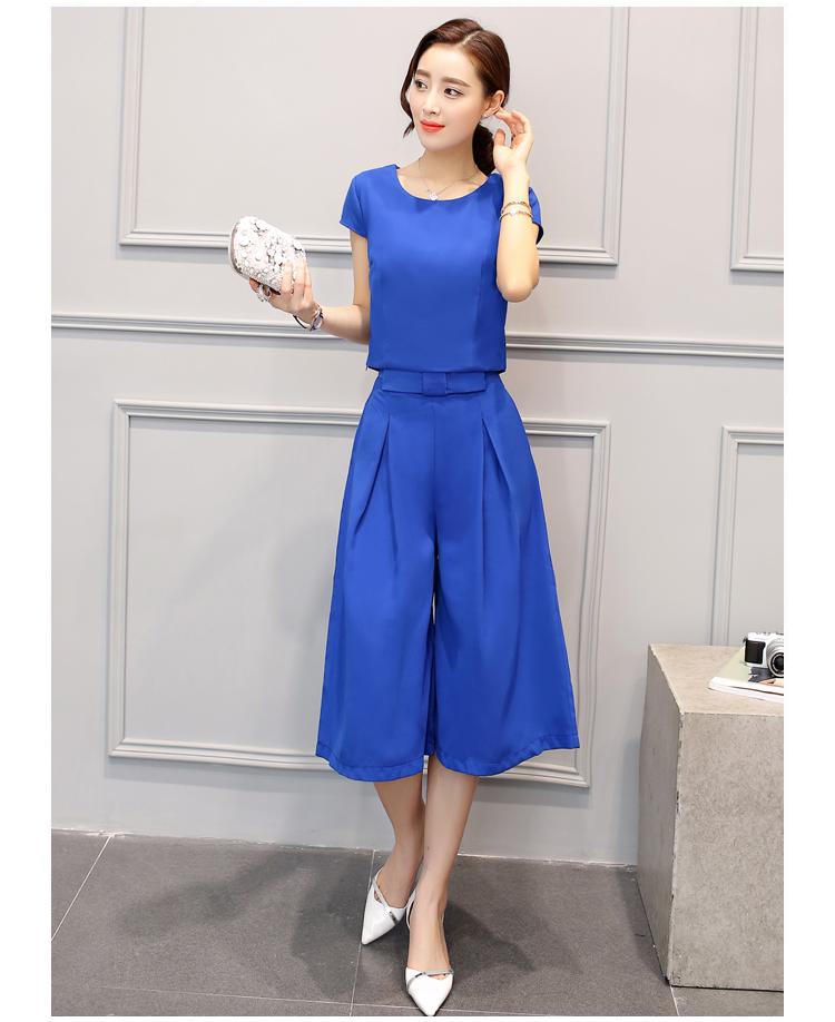 ชุดเซ็ท 2 ชิ้นเข้าชุดสีน้ำเงินสวยๆ เสื้อแขนสั้น+กางเกงขากว้าง ราคาถูก