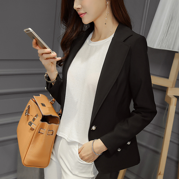 เสื้อสูททำงานสีดำ ทรงสวย คอปก แขนยาวแต่งกระดุมมุก [ พร้อมส่ง ] ราคาถูก