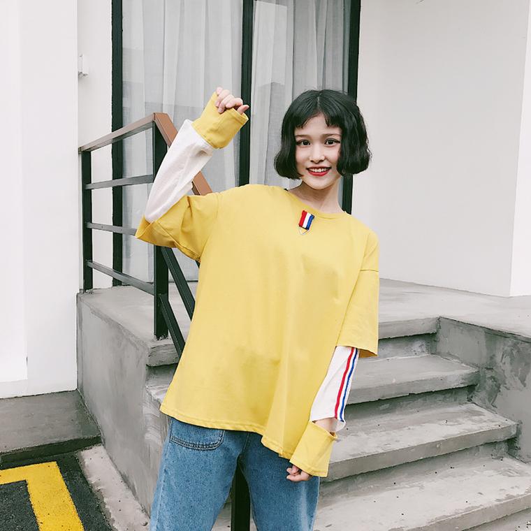 เสื้อแขนยาวสีเหลือง น่ารักๆ แฟชั่นแนวสตรีท