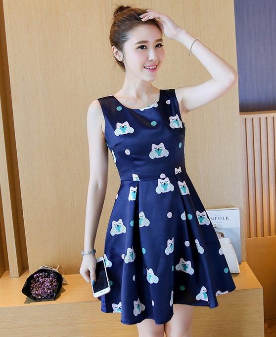 ชุดเดรสสั้นสีน้ำเงินลายแมวน่ารักๆ ลุคสวยหวาน น่ารักๆ สไตล์เกาหลี ราคาถูก