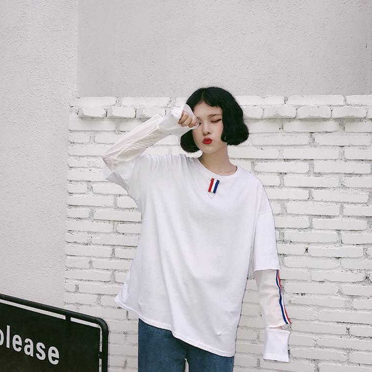 เสื้อแขนยาวสีขาว น่ารักๆ แฟชั่นแนวสตรีท