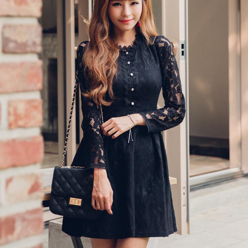 ชุดเดรสลูกไม้สีดำสวยหวาน น่ารัก แขนยาว สวย น่ารัก ดูดี