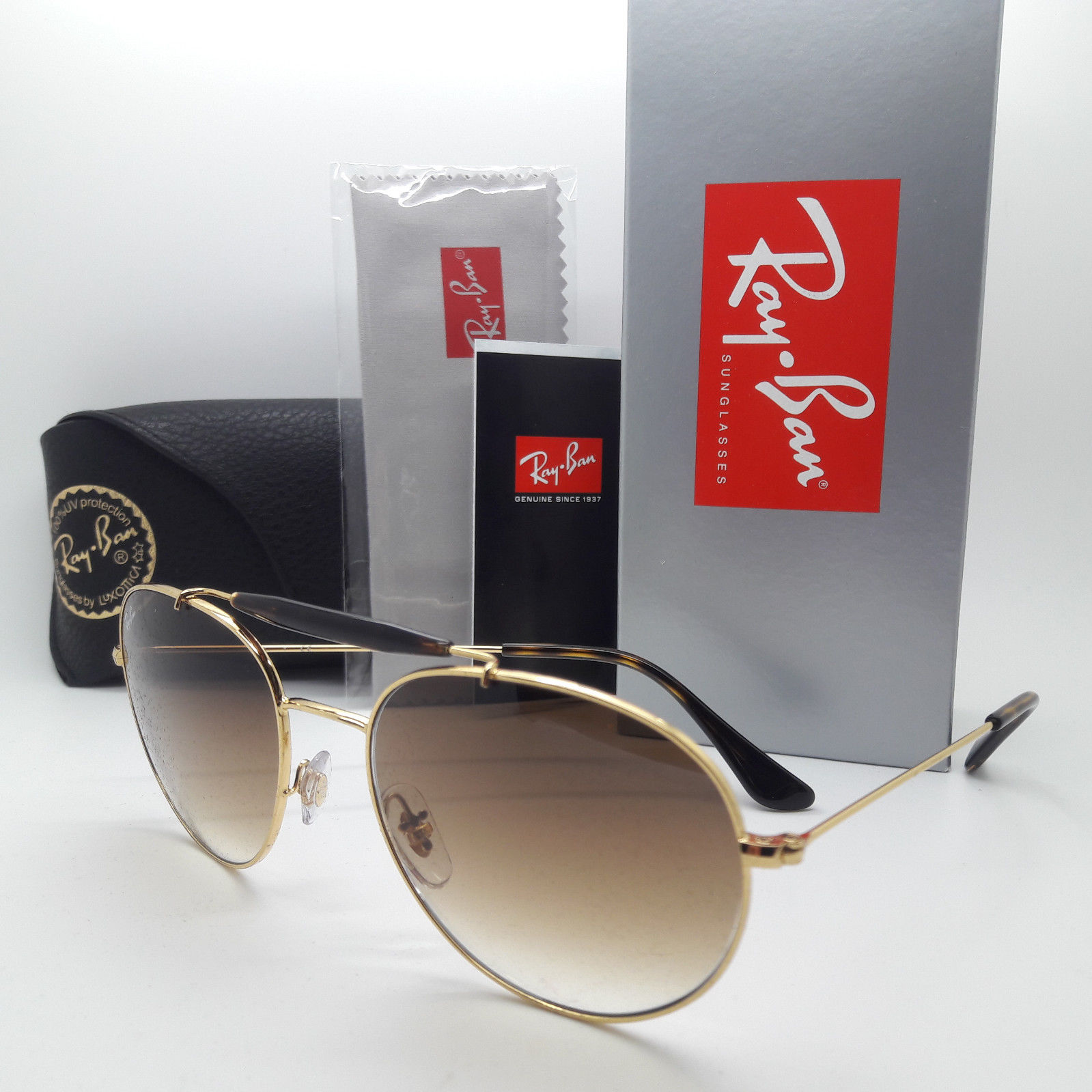 Ray Ban RB3540 001/51 Round Gold frame Brown gradient