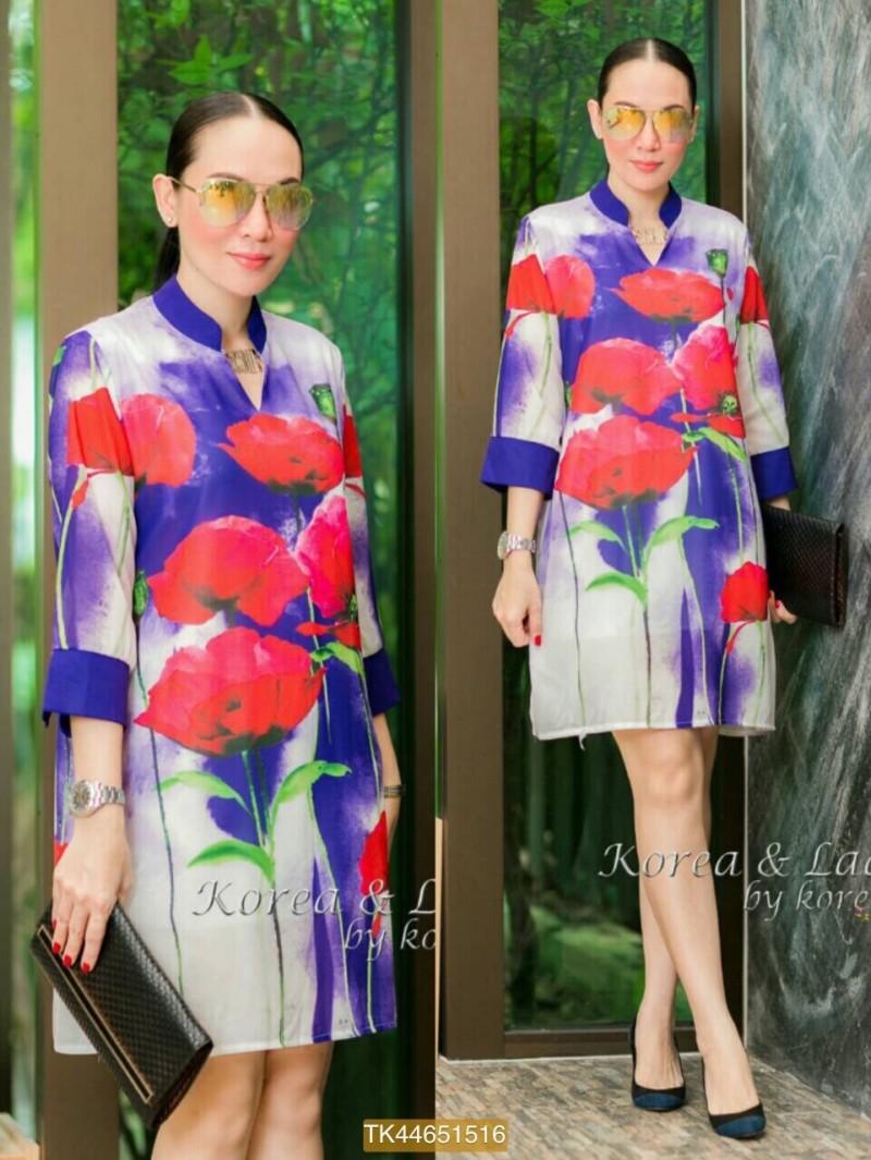 "TK1516**สีม่วง**รอบอก42"" Dior chiffon dress Korea high quality Flowers"
