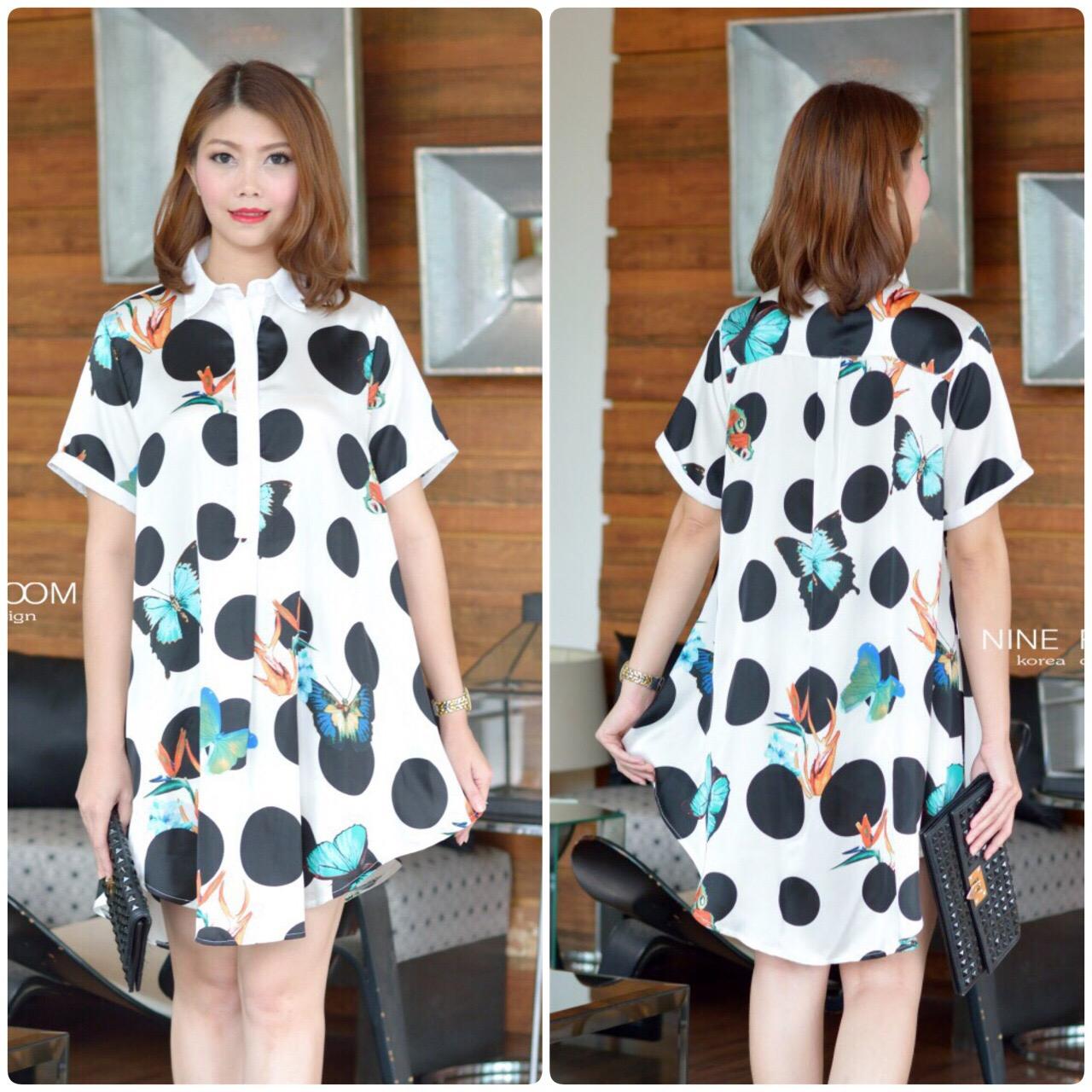 """รหัสNR604 **สีขาว** รอบอก 4ุ4"""" Moon Night Butterfly Printed ShirtDress"""