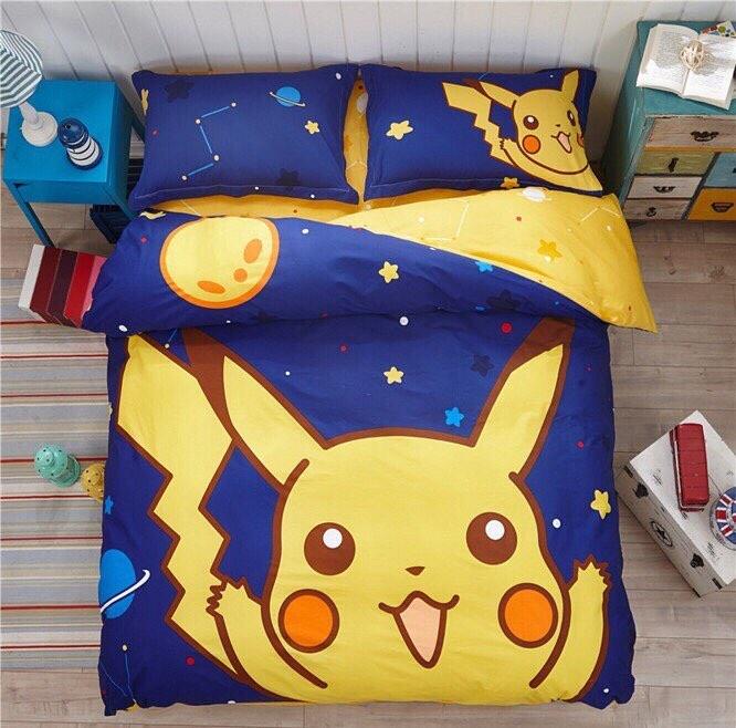 ผ้าปูที่นอน ลายการ์ตูนโปเกม่อน Pokemon Pikachu Bedding Set