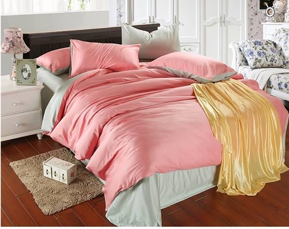 ผ้าปูที่นอน tencel สีชมพู-สีเทา สีพื้น