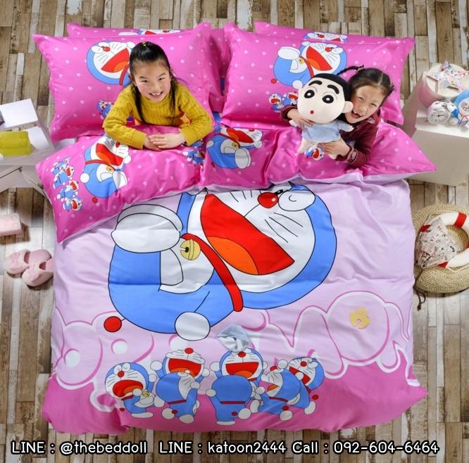 ผ้าปูที่นอน ลายการ์ตูนโดเรม่อน + คิตตี้ Bedding Set