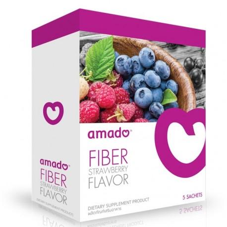 Amado Fiber Strawberry Flavor ดีท๊อกซ์ กลิ่นสตรอเบอร์รีกล่องม่วง