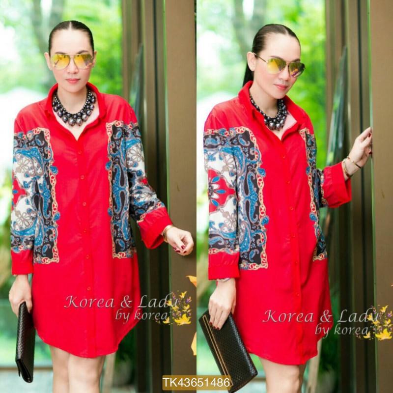 "TK1486**สีแดง**รอบอก44"" D&G chiffon shirt Oversize Korea high quality"