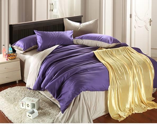 ผ้าปูที่นอน tencel สีม่วง-เทา สีพื้น