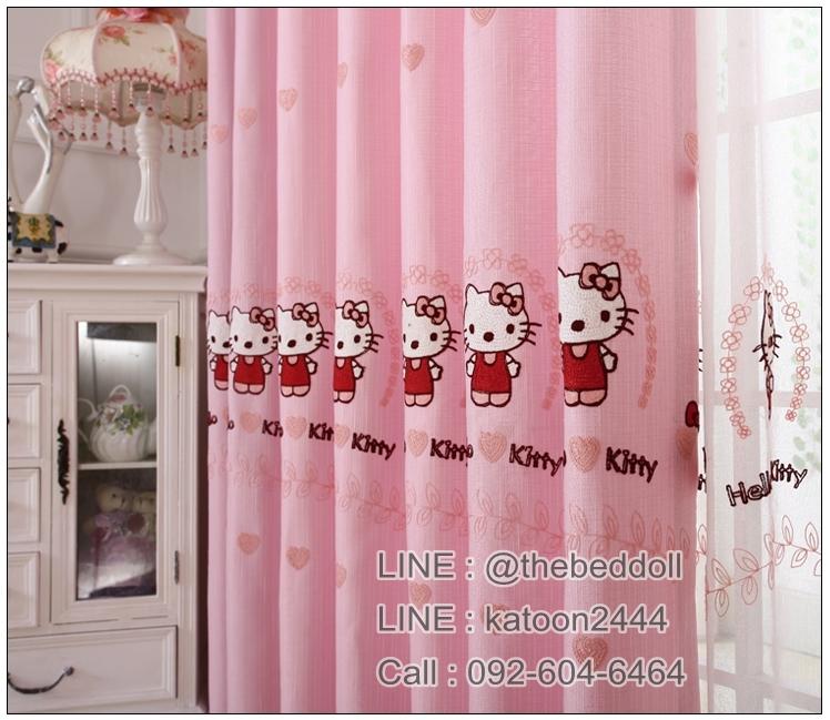 ผ้าม่าน ลายคิตตี้ Kitty งานปัก สีชมพูหวานๆ