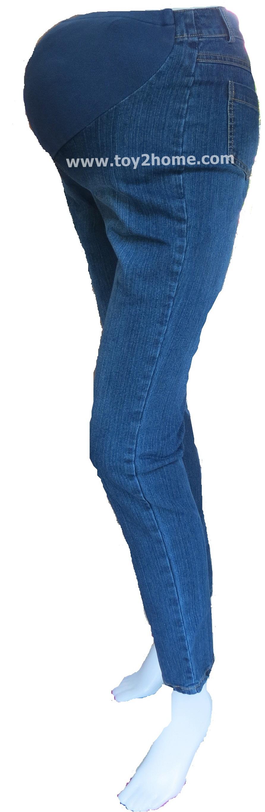 กางเกงคนท้องใส่ทำงาน (สียีนส์) ผ้าSPENDEX ขายาว 9 ส่วน
