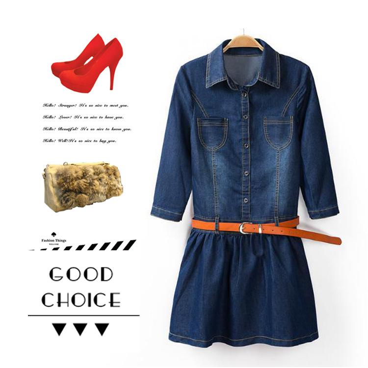 พรีออเดอร์ ชุดเดรสยีนส์ผู้หญิงแฟชั่นยุโรปใหม่ แขนยาว หร้อมเข็มขัด แบบเก๋ เท่ห์ - Preorder New European Fashion Long-Sleeved Denim Dress with Belt
