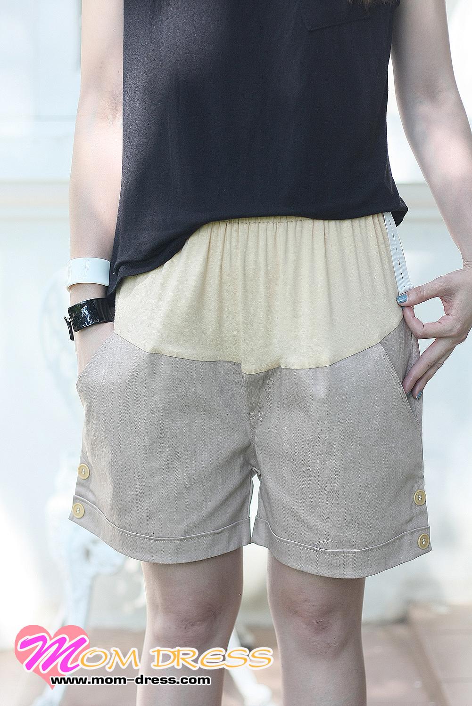 กางเกงคนท้อง กางเกงคลุมท้อง ปรับระดับ ขาสั้น สีครีม น้ำตาลอ่อน