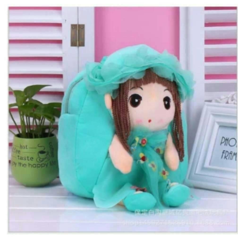 กระเป๋าเป้แฟชั่น สุดน่ารัก ตุ๊กตานางฟ้า วัสดุผ้าฝ้าย PP นุ่ม สำหรับคุณหนูๆ สะพายน่ารักน่าใช้ ขนาด 25 ×25× 15 cm สีชมพู แดง ม่วง ฟ้า เขียว