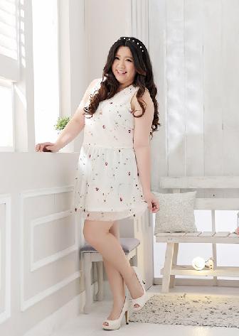 พรีออเดอร์ ชุดเดรสแฟชั่นเกาหลีใหม่ ผ้าชีฟอง น้ำหนักเบา ลายดอกไม้ น่ารัก สำหรับผู้หญิงไซส์ใหญ่ - Preorder New Korean Fashion Sweet Floral Pattern Dress for Large Size Woman