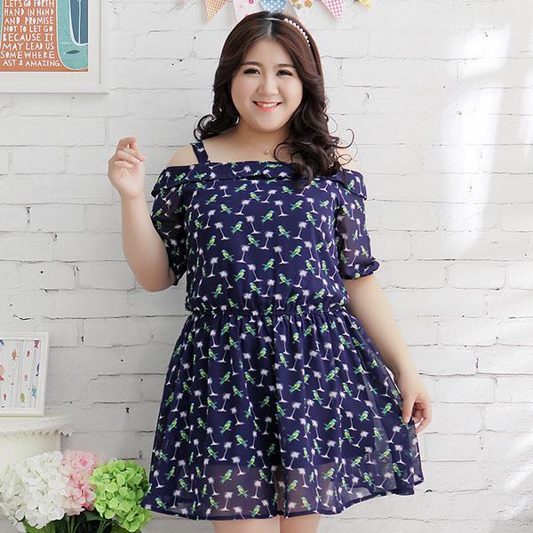 [พรีออเดอร์] เสื้้อเดรสแฟชั่นเกาหลีใหม่ โชว์แขน สำหรับผู้หญิงไซส์ใหญ่ - [Preorder] New Korean Fashion Dress for Large Size Woman