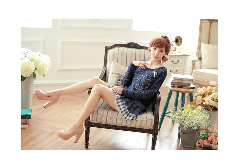 [พรีออเดอร์] เสื้อเดรสแฟชั่นเกาหลี แบรนด์ Kaven Dream 2 ชิ้น ลูกไม้สวยหวาน แขนยาว กระโปรงลายสก๊อต - [Preorder] Women Korean Hitz Kaven Dream Brand 2 Pieces Dress Sweet Lace Long-Sleeve Plaid Pattern Skirt