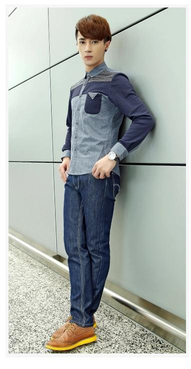 พรีออเดอร์ เสื้อเชิ้ตทำงานแฟชั่นเกาหลีสำหรับผู้ชาย แขนยาว เก๋ เท่ห์ - Preorder Men Korean Hitz Slim Long-sleeved Shirt