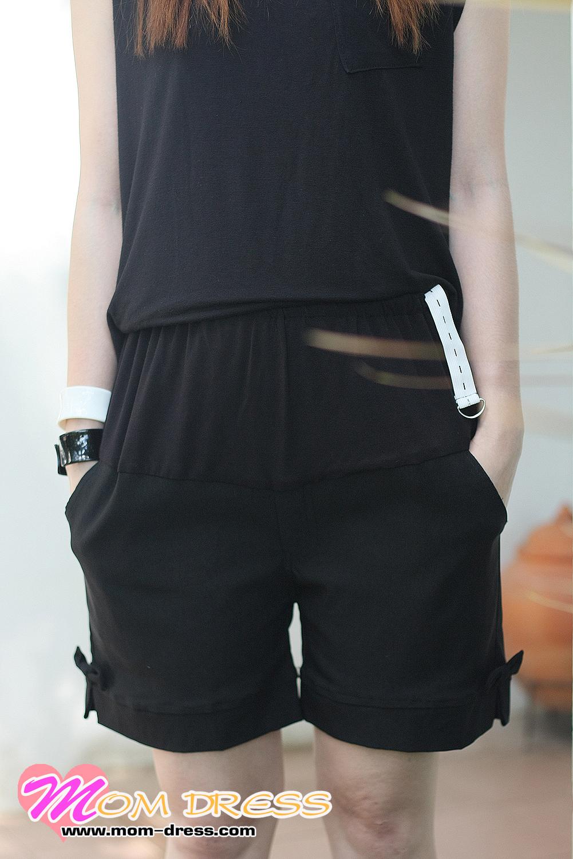 กางเกงคนท้อง กางเกงคลุมท้อง ขาสั้น สีดำ