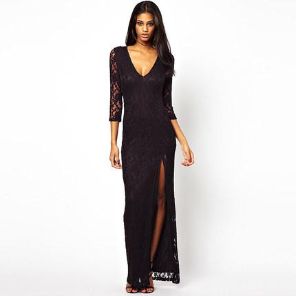 **พรีออเดอร์** ชุดเดรสผู้หญิงแฟชั่นยุโรปใหม่ แขนยาว ลูกไม้ แบบเก๋ เท่ห์ / **Preorder** New European Openwork Lace V-Neck Fashion Slim Sexy Dress