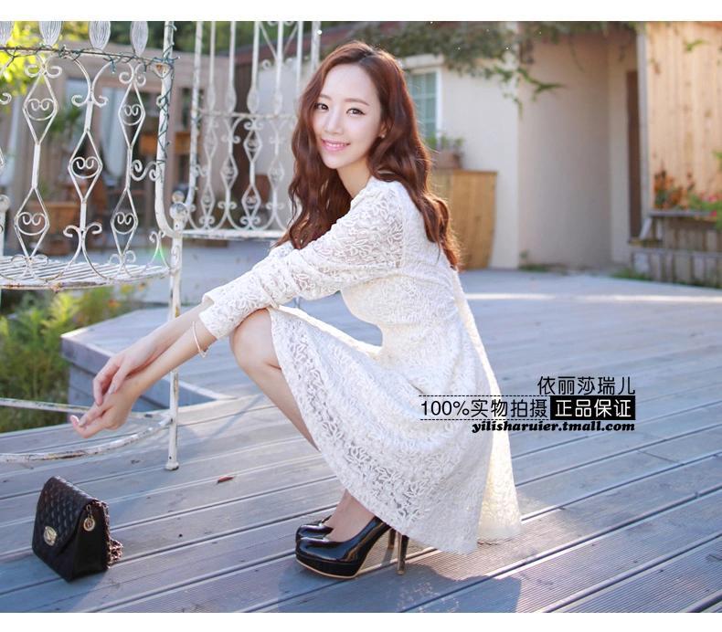 [พรีออเดอร์] ชุดเดรสผู้หญิงแฟชั่นเกาหลีใหม่ แขนยาว ลูกไม้ แบบเก๋ เท่ห์ - [Preorder] New Korean Fashion Slim Round Neck Lace Long-sleeved Dress