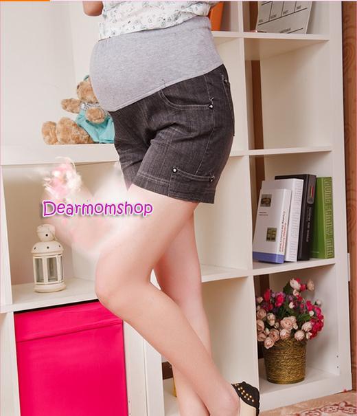 กางเกงคลุมท้องยีนส์ขาสั้นสีดำ