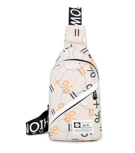 กระเป๋าคาดอก/เอว WB ลายขาวครีม