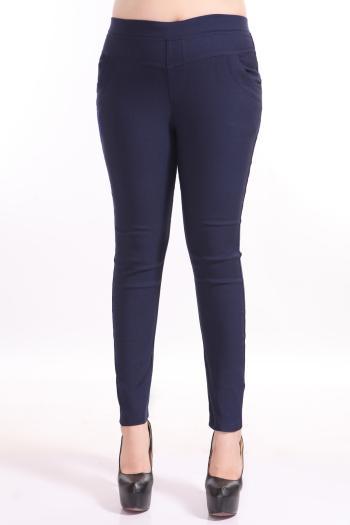 [พร้อมส่ง] กางเกงยืดไลคร่า ใส่สบาย สำหรับผู้หญิงไซส์ใหญ่พิเศษ สีน้ำเงิน - [In Stock] Thin Casual Long-legged Pants for Large Size Women, Blue Color